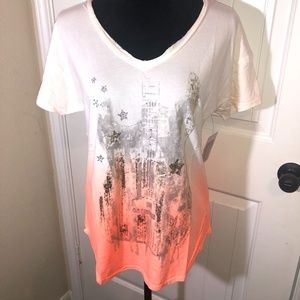 Miss Me V Neck Ombre Graphic Tee Size Large